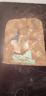 Rare Antique Ancient Egyptian God Anubis offering Sacrifice on linen 1740-1650BC