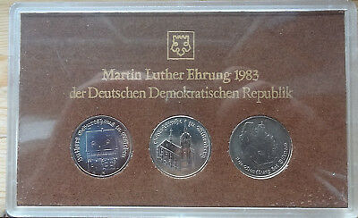 DDR .KMS1 x 1982 , 2 x 5 Mark 1983 Martin Luther in St.