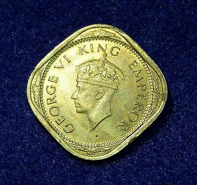 1943(b) India-British 2 Annas Km-541a George VI King Emperor, UNC, Dot Mintmark