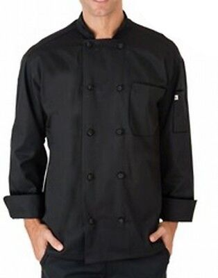 Uncommon NEW Black Mens Size XL Long-Sleeve Button Down Chef Shirt $50 353