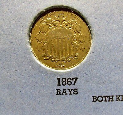 With Rays Variety 1867 Shield Nickel - Tough Variety - Only Made 2 Years !!!!