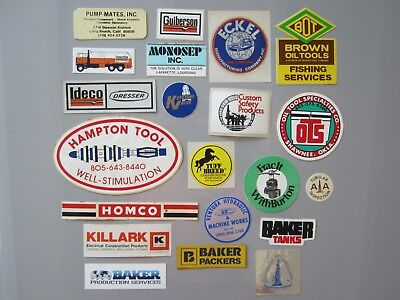 Vtg OIL Field GAS TOOL STICKERS Decal 20 LOT Bundle FUEL Station Company SERVICE