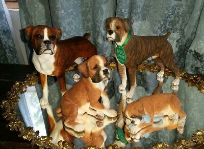County Artists Boxer Dog - Lot of 4 Boxer Puppy, sleeping, best of show, brindle