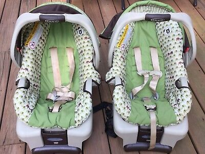 infant twin baby car seats with base + FREE double frame stroller