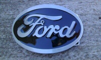 Ford Oval Belt Buckle Silver With Black Enamel NEW #4