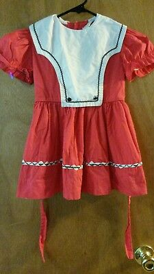 Vintage Little Girls Dress Lil Airess Workers Union White Red Blue Size 4