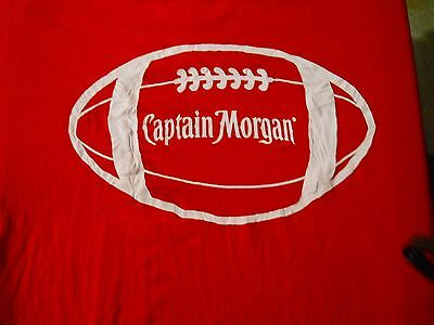 CAPTAIN MORGAN RUM  ( L) T-Shirt  Football Shrink Wrapped   RED
