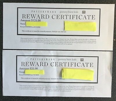 $150 Pottery Barn Rewards Gift Certificates