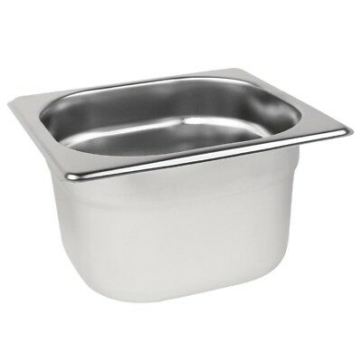 Vogue Stainless Steel 1/6 Size Gastronorm Pan Bain Marie Pot Choose Depth