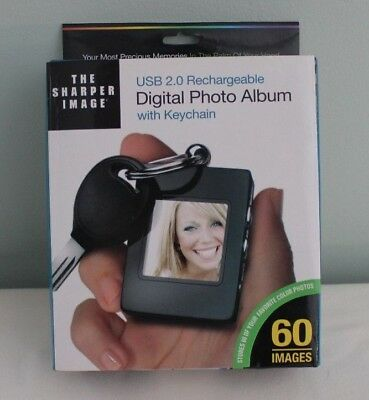 *BRAND NEW* The Sharper Image Rechargeable Digital Photo Album With Keychain