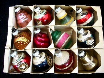 12 Vintage Glass Shiny Brite, Shaped, indents, Mica Christmas Ornaments & Box