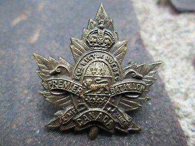 WWI CEF 2eme Regt De Quebec (2nd Regiment of Quebec) Premier Regiment Overseas