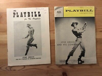 lot of 2 *JOSE GRECO* and his company of Spanish dancers 1960's PLAYBILLS