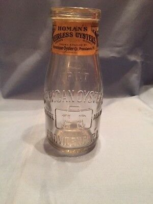 American Oyster Co. - Homan's Peerless Oysters Pint Bottle Not Oyster Tin Nice !