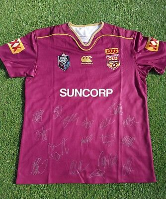 QLD Maroons 2017 state Of origin Jersey hand Signed Game 3 TEAM
