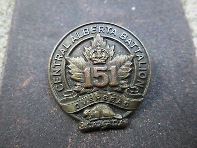 WWI CEF 151st Central Alberta Canada Overseas Battalion Sweetheart Pin Back