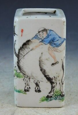Antique Chinese Porcelain Brush Pot With Marked