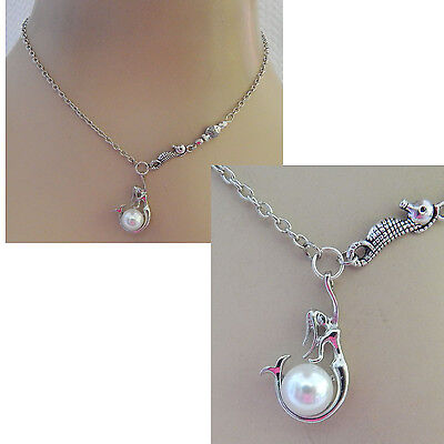 Mermaid Necklace Silver Pendant Pearl Jewelry Handmade NEW Chain Women Fashion