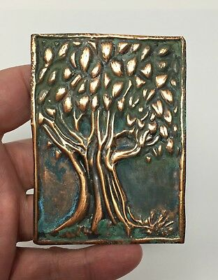 ACEO, Hand Tooled Copper, Old Oak Tree, Natural Copper Patina, OOAK, Artist Card
