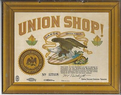 vintage Barbers, Hairdressers, & Cosmetologists Union Shop TIN sign - EXCELLENT