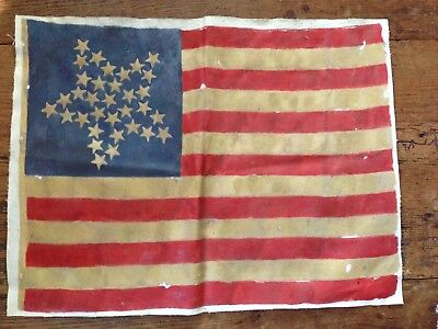 American flag oil painting 33 star Civil War Original
