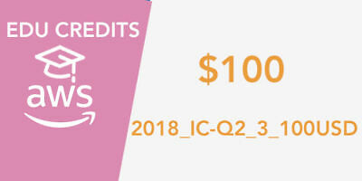 AWS Educate 100$ Credit Code, EVENT ID 2018 IC Q2 3 100USD