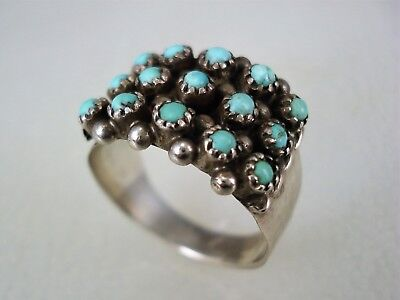 OLD ZUNI STERLING SILVER & 15 SNAKE-EYE TURQUOISE 3 ROW CLUSTER RING sz 7.5