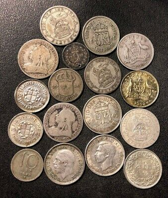 Vintage WORLD Silver Coin Lot - 1848-1962 - 17 Silver Coins - Lot #715