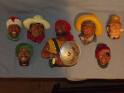 Lot Of 7 Vintage Bossons England Chalkware Heads Wall Figurines