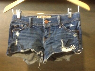 Hollister Womens Short-Short Jean Shorts Size 0 W24 Low Rise Stretch Destroyed