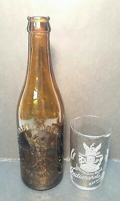 Awesome PrePro Indianapolis Brewing Co Etched Glass & Embossed Bottle Set
