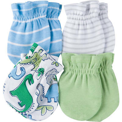Gerber Baby Boys 4 Pack Mittens NEW Size 0-3 Months Adorable Dino