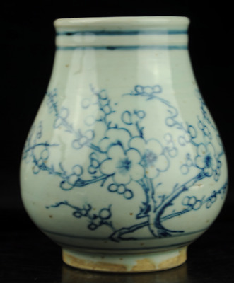 Chinese antique hand-made Blue and White porcelain plum blossom pattern pot c01