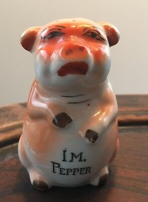 Pig - Porcelain - Pepper Shaker - Made in Japan - Hand painted - 3""