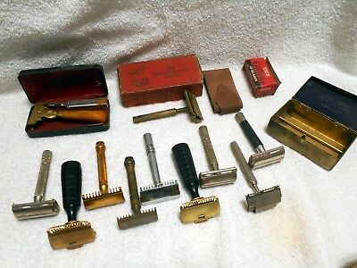 Lot of 11 Vintage Antique Safety Razor Gillette Long Comb Gem Valet Schick ++