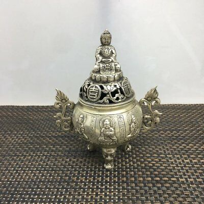 China copper plating silver hand-carved Buddha KWAN-YIN statue censer d02
