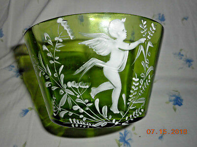 VINTAGE GREEN MARY GREGORY GLASS OPEN SUGAR BOWL #2 of 2