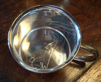 Towel 925 Sterling Silver Baby Cup With Rabbit Design Inside