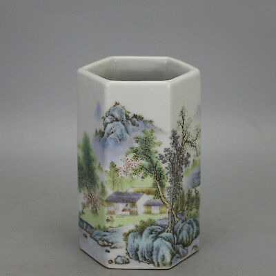 China old  porcelain famille rose  landscape pattern hexagonal brush pot c02
