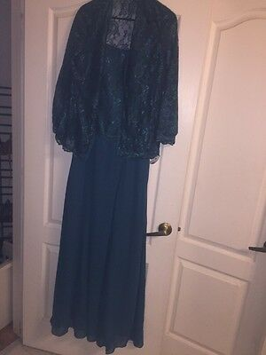 MOTHER OF THE BRIDE OR GROOM TEAL FORMAL GOWN  SIZE 12 With Jacket