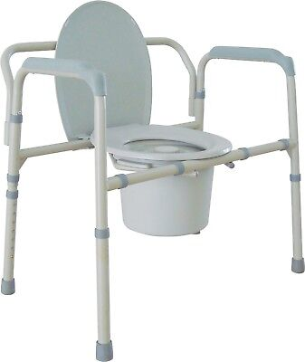 Drive Medical Heavy Duty Bariatric Folding Steel Commode, Gray. New