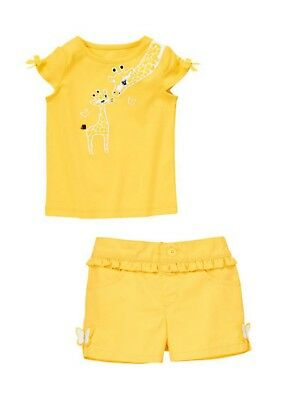 NWT Gymboree YELLOW AND BLACK  2-Pc Outfit Giraffe Top Butterfly Shorts Girl 2T