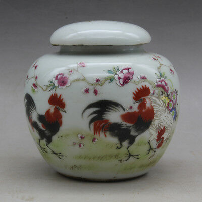Chinese old Hand painted chicken pattern porcelain famille rose tea caddy c01