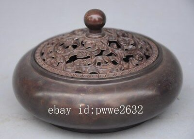 Chinese Pure Purple Copper incense burner Censer Sculpture d02