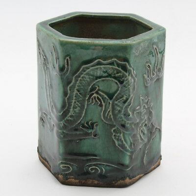 Chinese old hand-carved dragon pattern green glaze porcelain brush pot c01