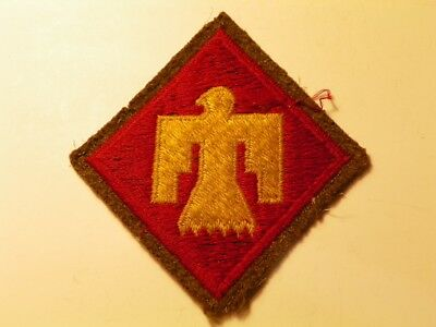 """45th Infantry Division SSI Patch """"Woolie"""" embroid on Wool, RARE Original WW2 Mfg"""
