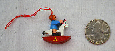 Miniature Hand Painted Child On Rocking Horse Christmas Ornament