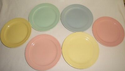 Taylor Smith Taylor TST Lu-Ray Lot of 6 Pastel Bread & Butter Plates