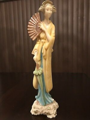 Vintage Handmade Norleans Oriental Japanese Geisha Statue Made In Italy