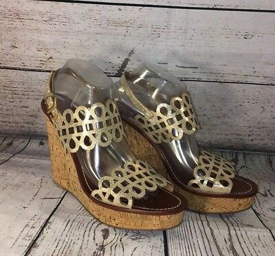 6b0950ee1d41 Tory Burch Daisy Wedge Sandals Gold Patent Leather Nori Laser Cut Shoes Sz  10.5